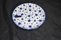 Cake dish Bunzlau Castle Wit met blauwe sterren 0119