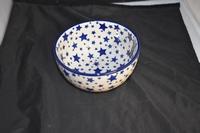 Rice Bowl Bunzlau Castle Wit met blauwe sterren 0119
